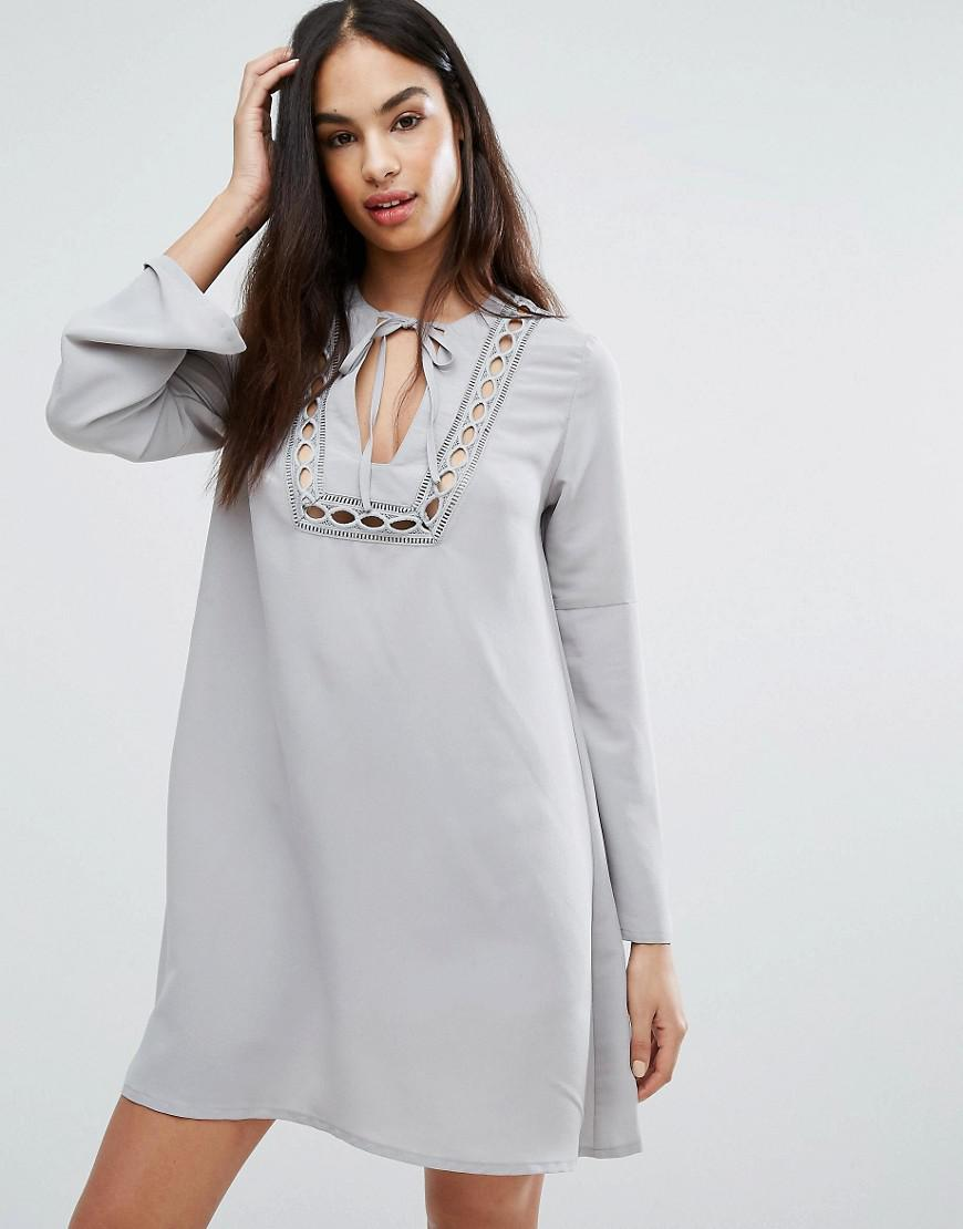 1f3bf2aad879 Lyst - Missguided Lace Insert Smock Dress in Gray