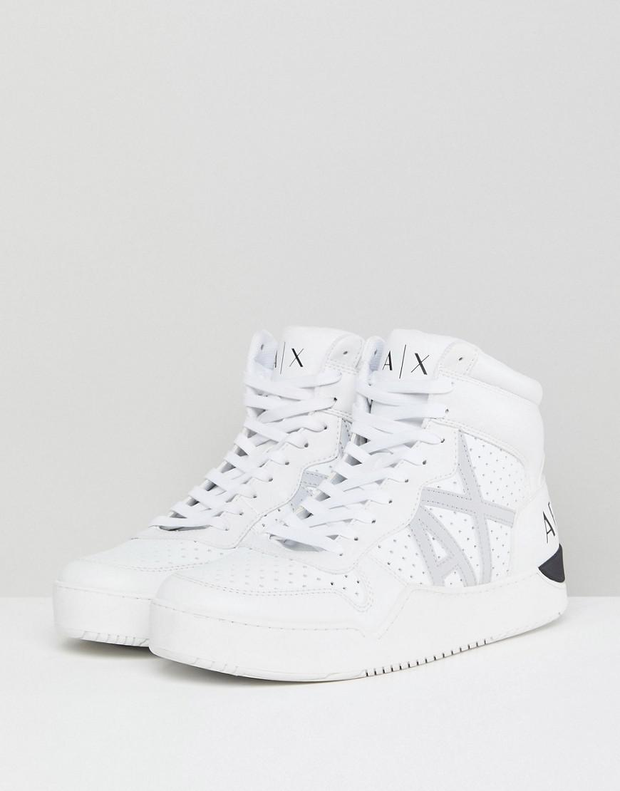 discount newest Armani Exchange AX Logo Perforated Hi Top Trainers In White outlet manchester great sale SkIzqahP8A