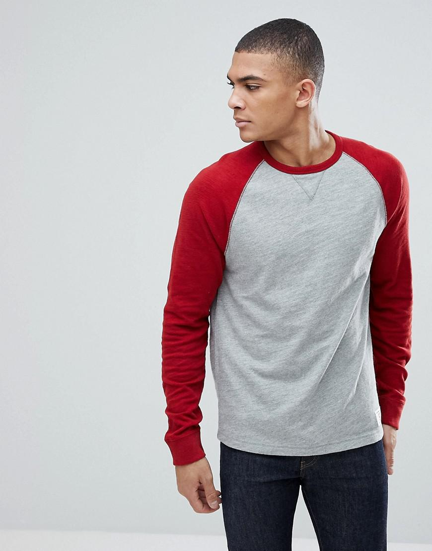 1468d2d2 Abercrombie & Fitch Long Sleeve Baseball Top Contrast Sleeve In Grey ...