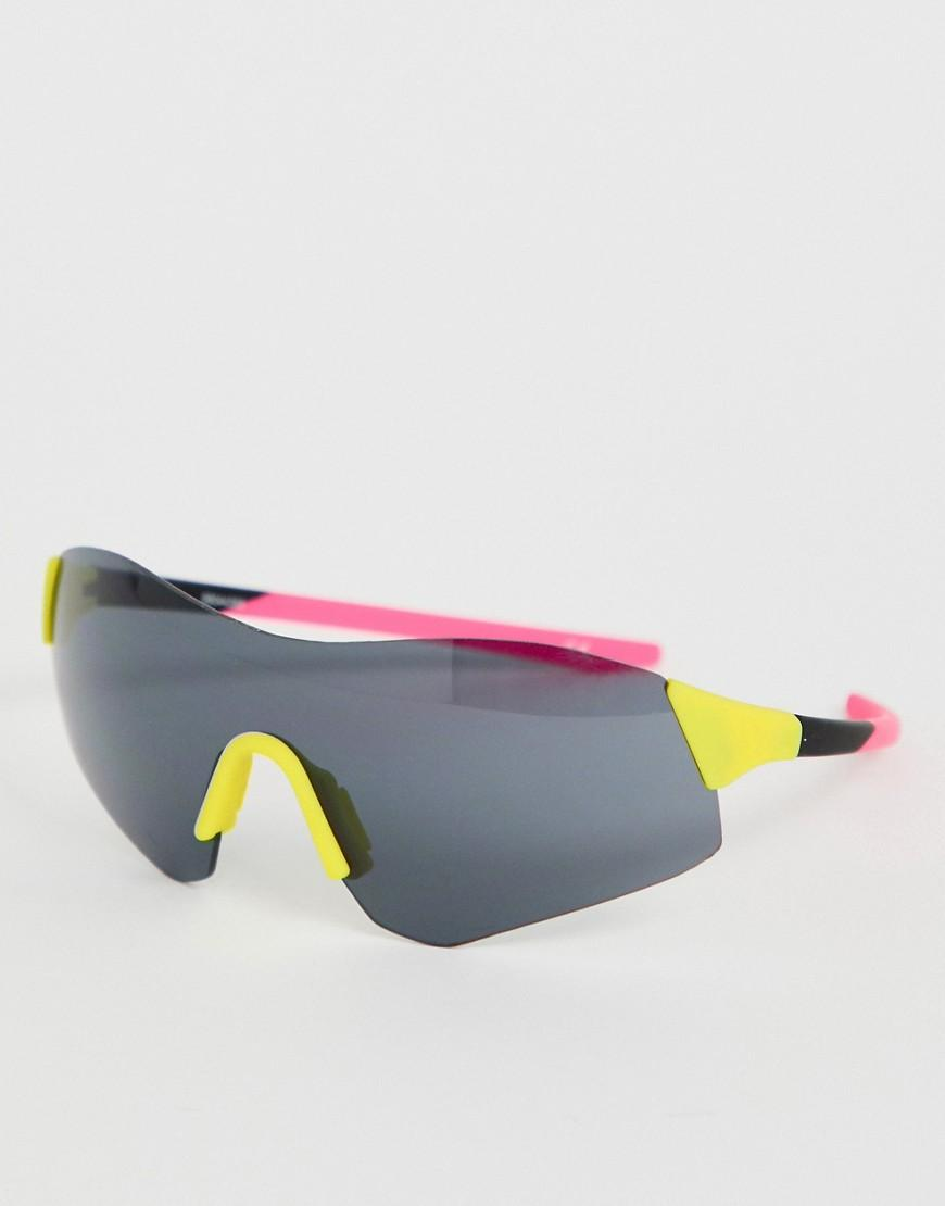 9473499f04d0 ASOS Half Frame Colour Block Visor Fashion Glasses In Neon - Lyst