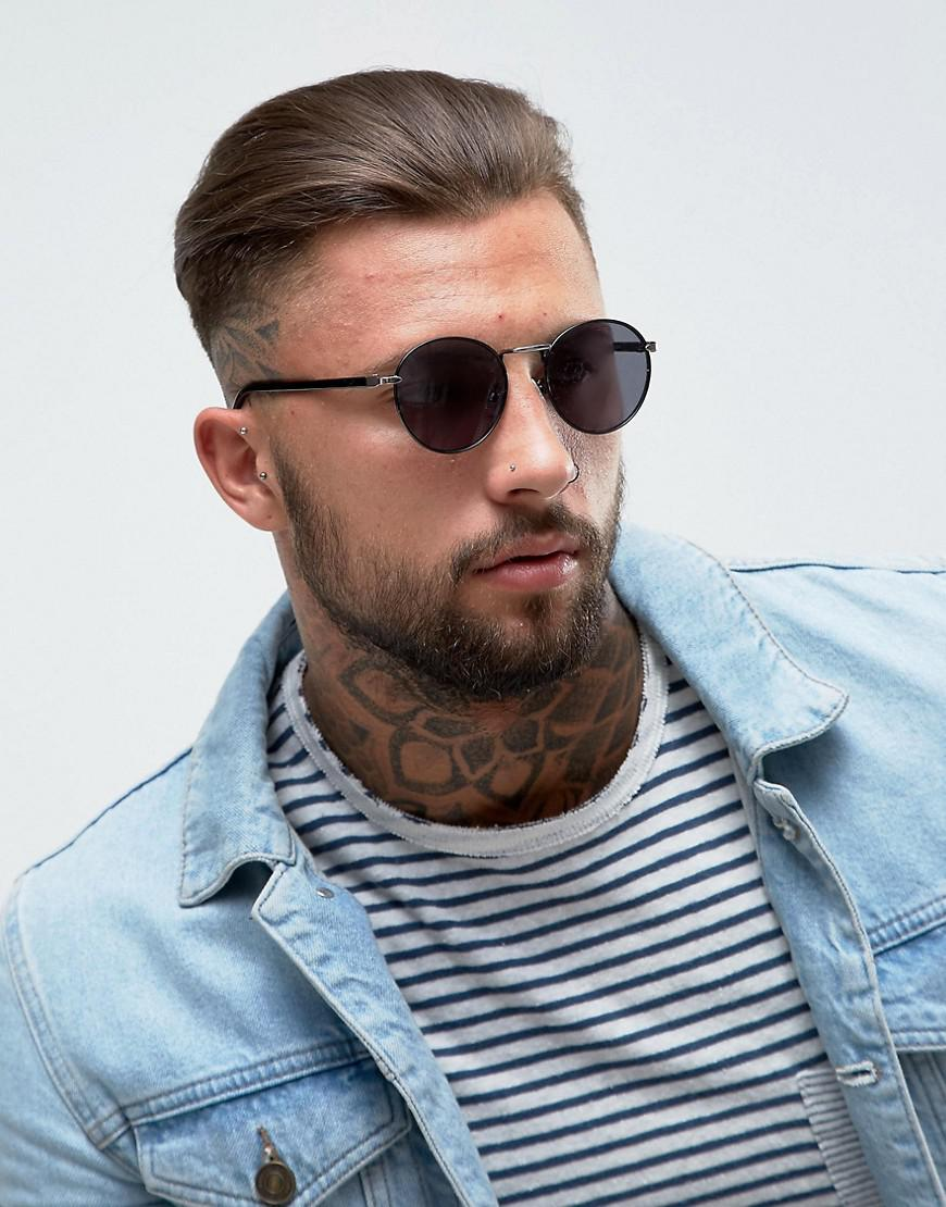 ASOS Denim Round Sunglasses In Black Metal With Gold Details for Men