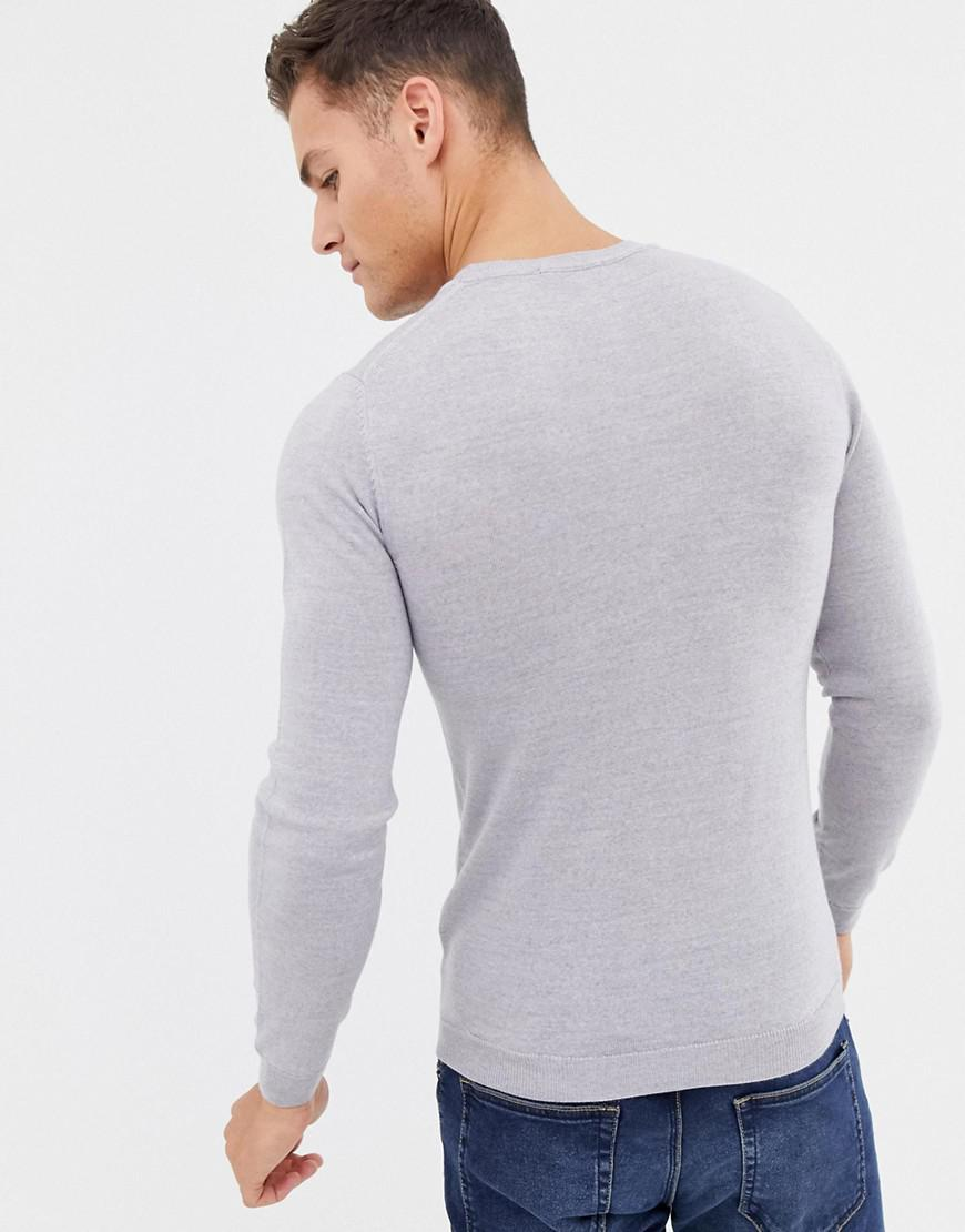 d49f7a4adac ASOS Asos Muscle Fit Merino Wool Sweater In Light Gray in Gray for Men -  Lyst
