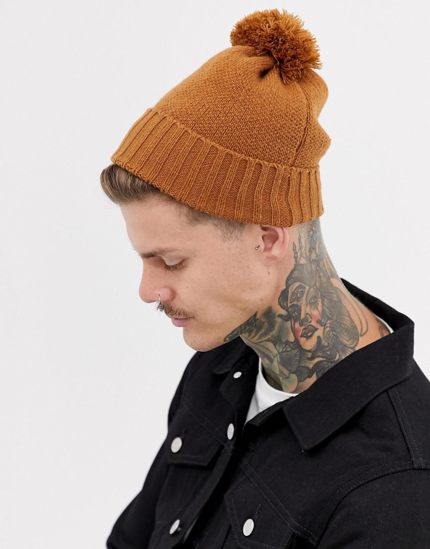 f56f9689729 ASOS Bobble Beanie In Tobacco Recycled Polyester in Brown for Men - Lyst