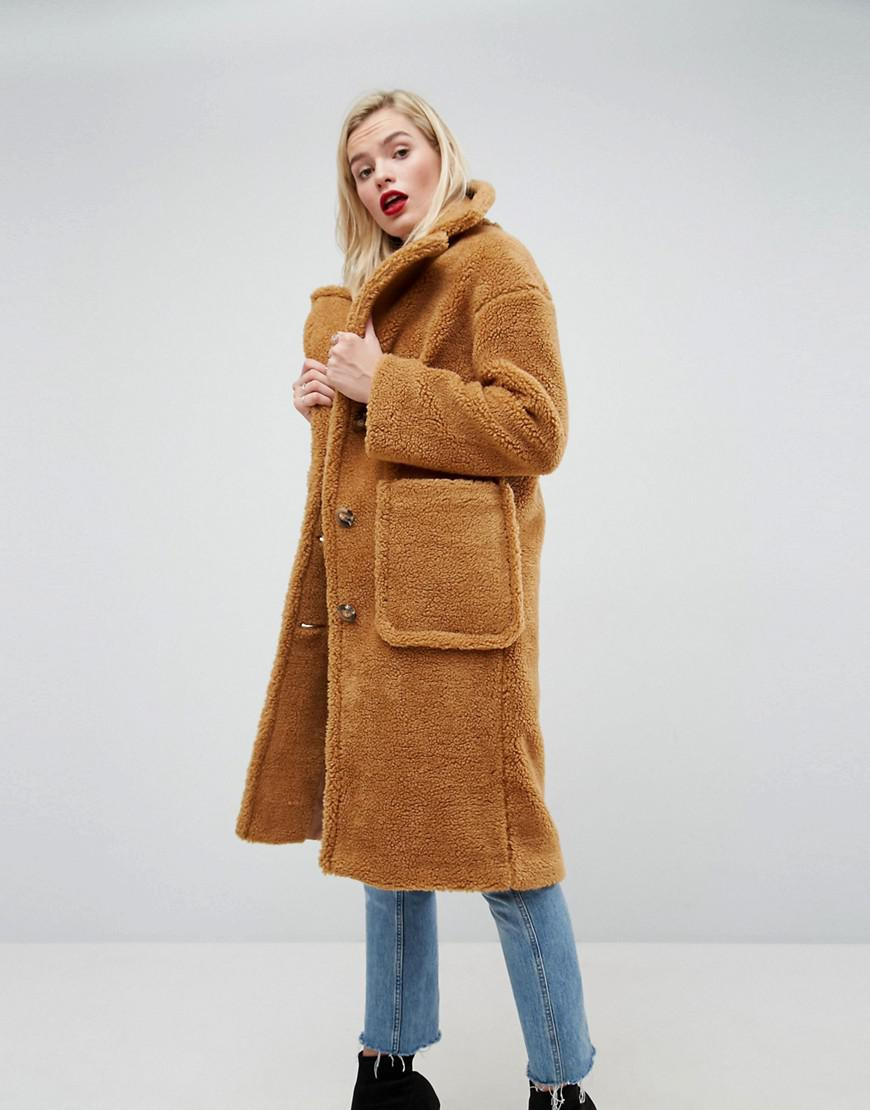 Lyst - Asos Luxe Teddy Borg Coat in Brown