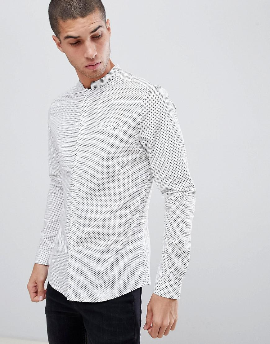 5b6d275cf6e4 ASOS Smart Skinny Polka Dot Shirt With Manderin Collar In White in ...