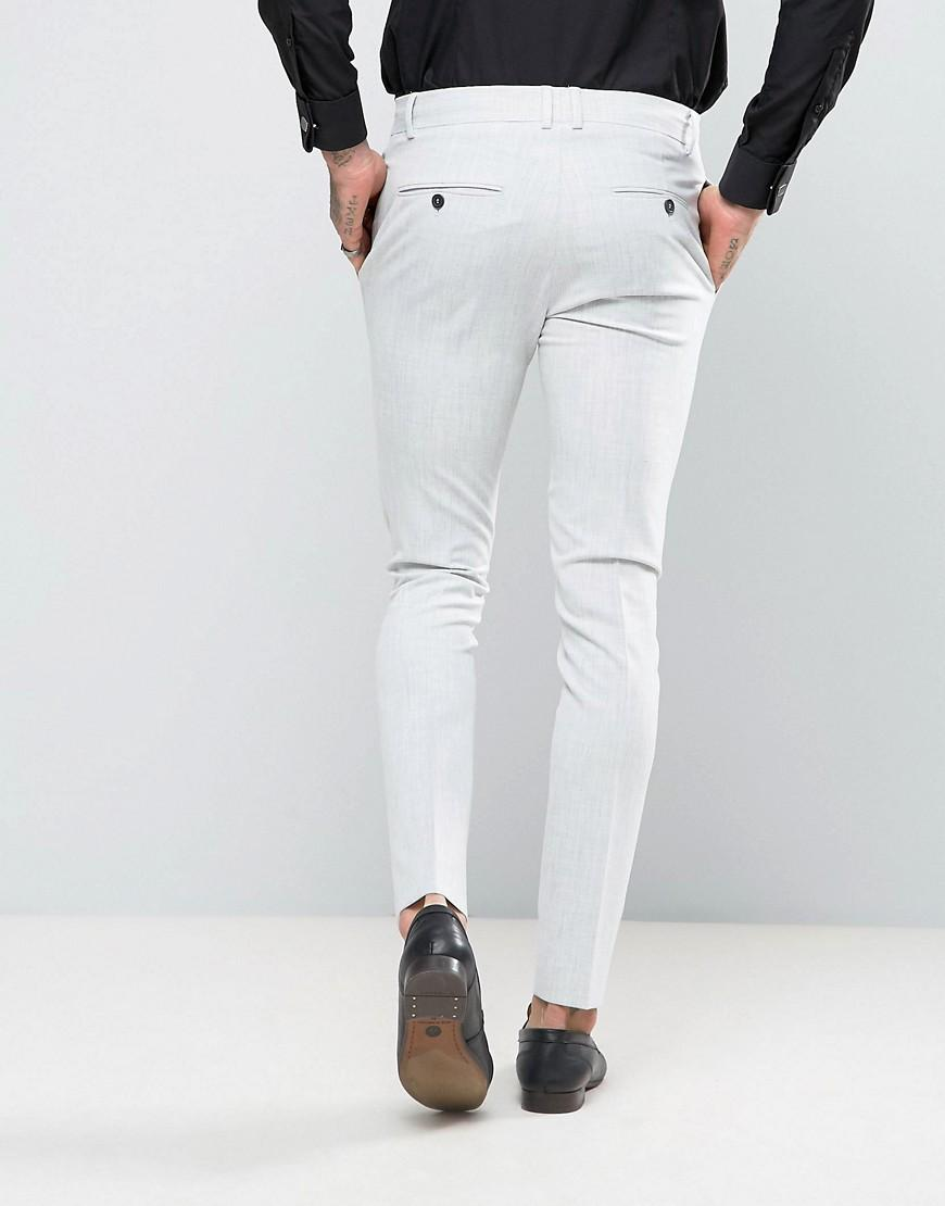 Religion Synthetic Super Skinny Suit Trousers In Pale Grey in Grey for Men
