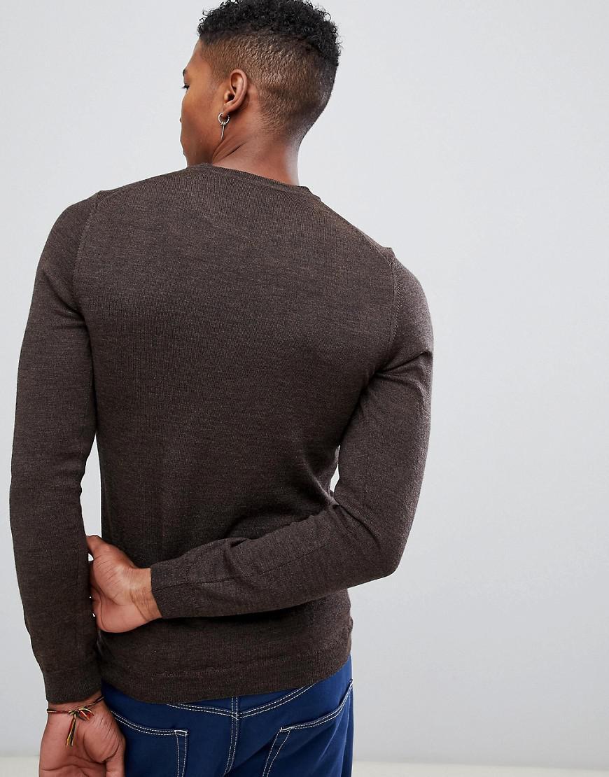 4c3d6125 Lyst - ASOS Asos Muscle Fit Crew Neck Sweater In Merino Wool in Brown for  Men