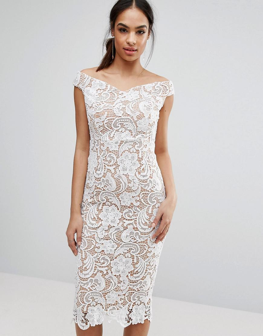 61f71d0065f54 Lyst - Boohoo Lace Off The Shoulder Midi Pencil Dress in White