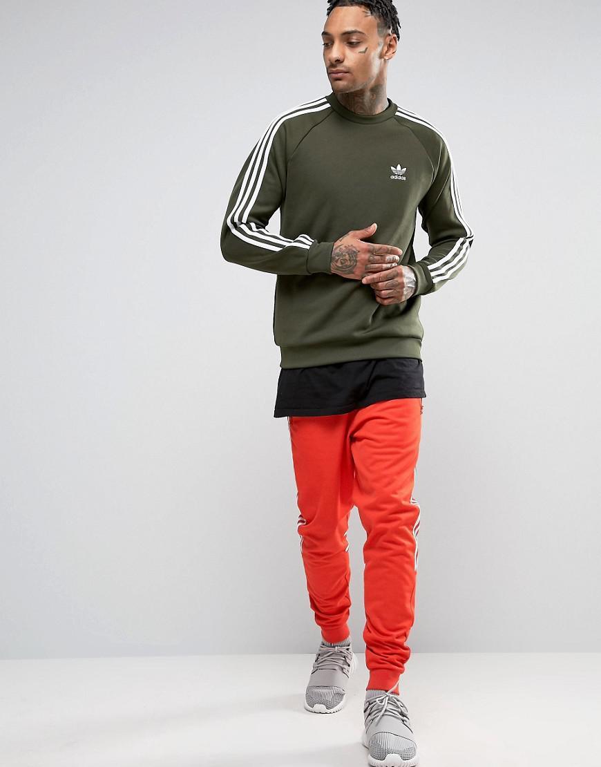 Adidas Originals Sst Crew Neck Sweatshirt In Green Bq5406 In Green For Men Lyst