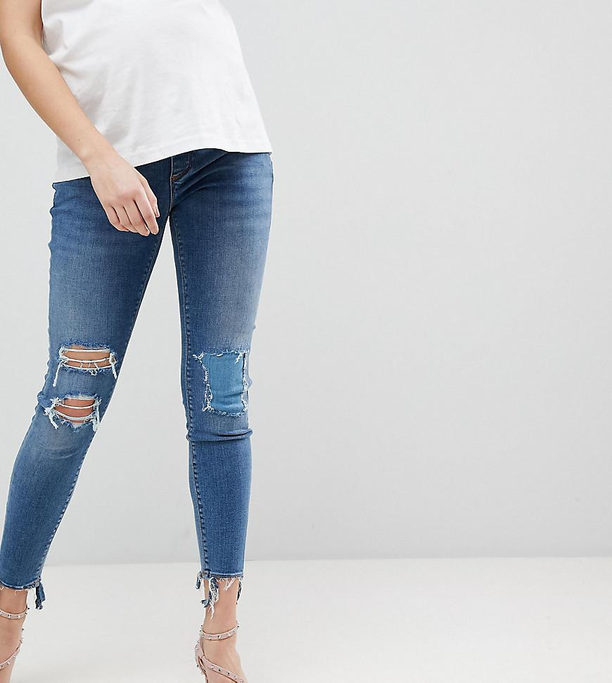 ASOS DESIGN Maternity Ridley high waist skinny jeans with under the bump waistband in tana extreme mid wash with busted - Mid wash blue Asos Maternity bUNtZaJTL