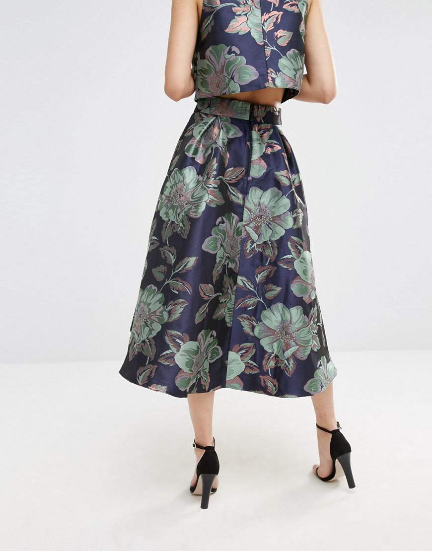 Lyst Asos Prom Skirt In Floral Jacquard Co Ord In Blue