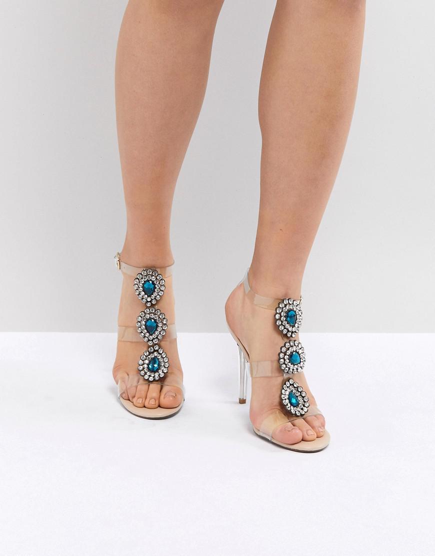 fe814eebf52 Betsey Johnson. Women s Pink Blue By Betsy Johnson Sylvi Clear Embellished Heeled  Wedding Sandals