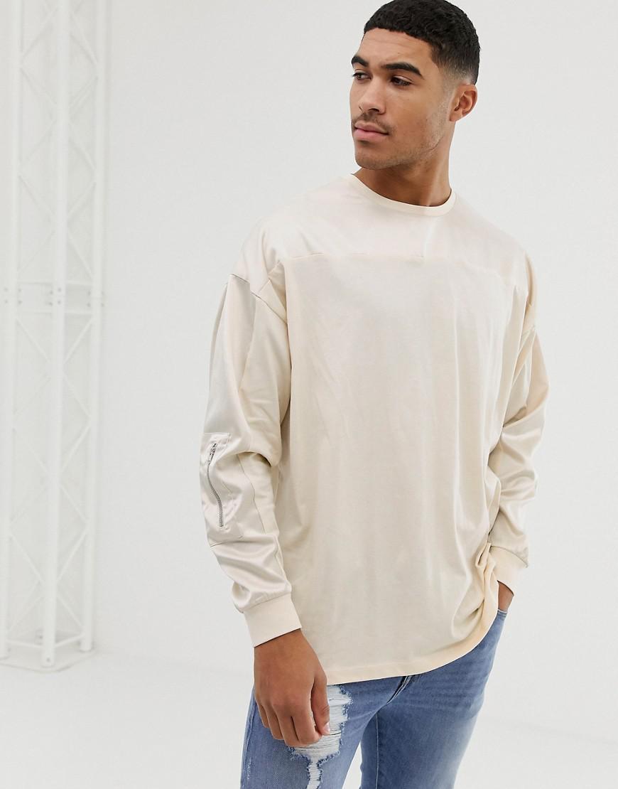 4616454c5 ASOS. Men's Natural Oversized Longline Long Sleeve T-shirt With Contrast  Woven Fabric Yoke ...