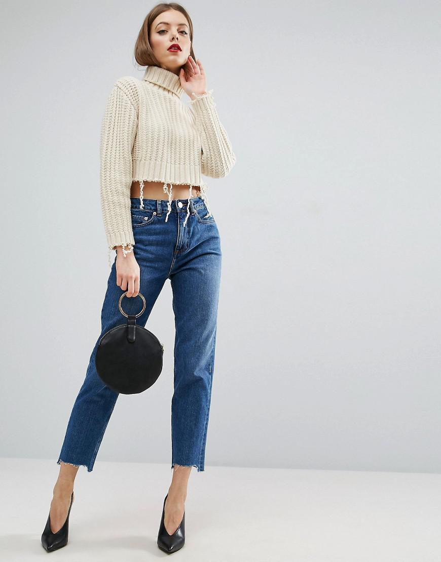 ASOS Denim Original Mom Jeans In Hailee Darkwash With Stepped Hem in Blue