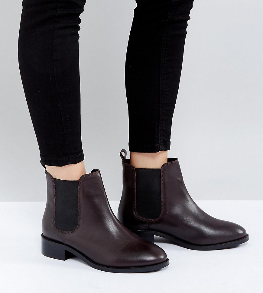 Asos Absolute Wide Fit Leather Chelsea Ankle Boots In