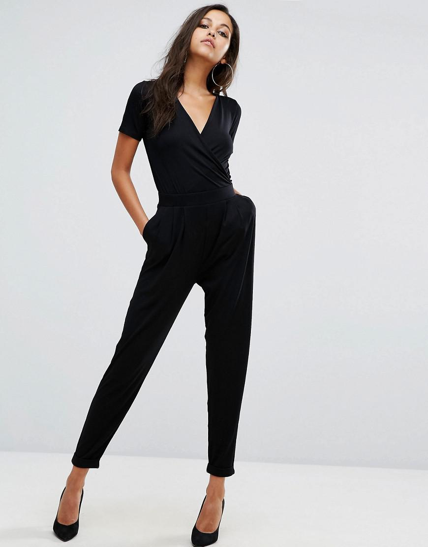2ea0bb764d5 Lyst - ASOS Asos Wrap Front Jersey Jumpsuit With Short Sleeve in Black