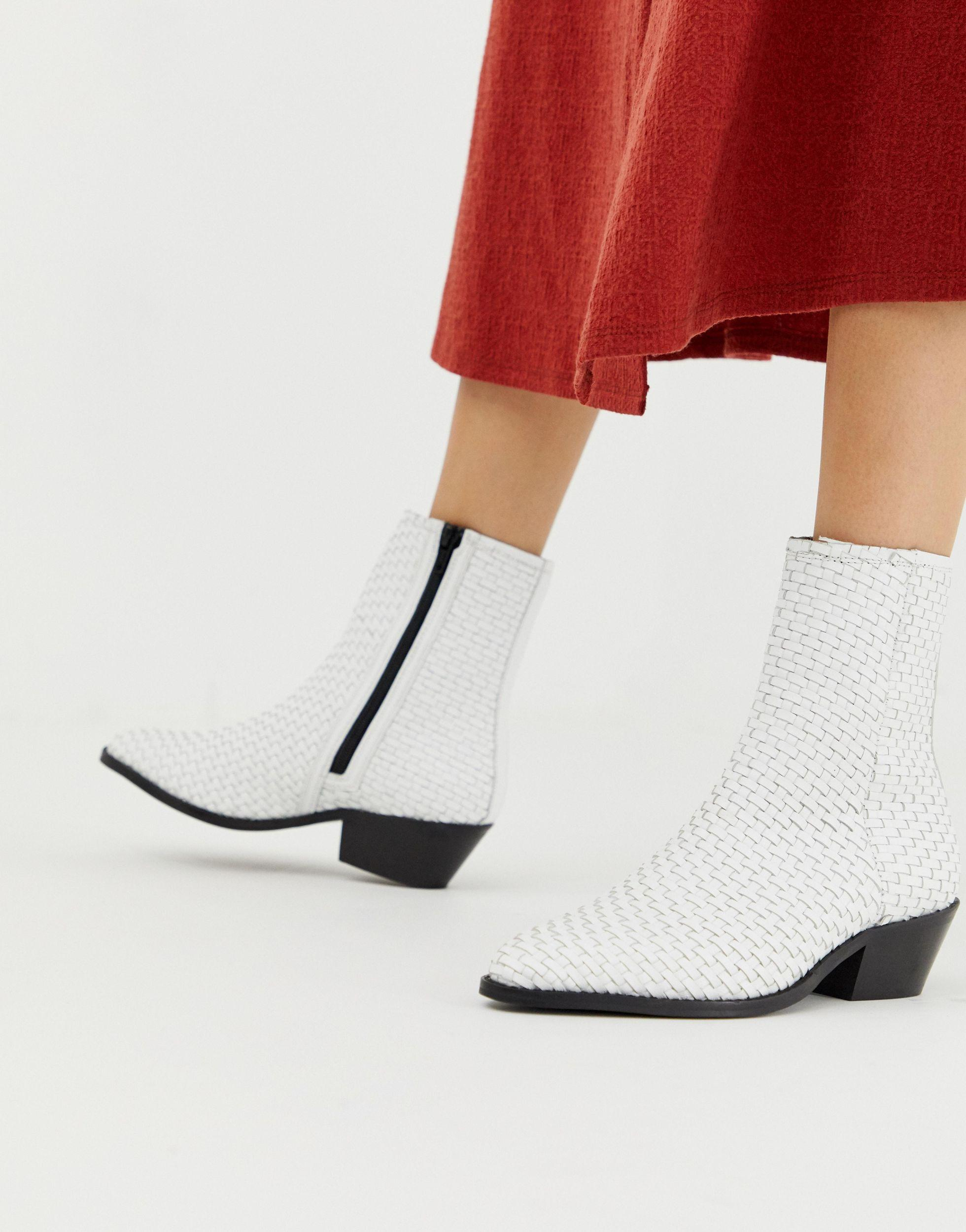 ASOS Austin Leather Woven Boots in