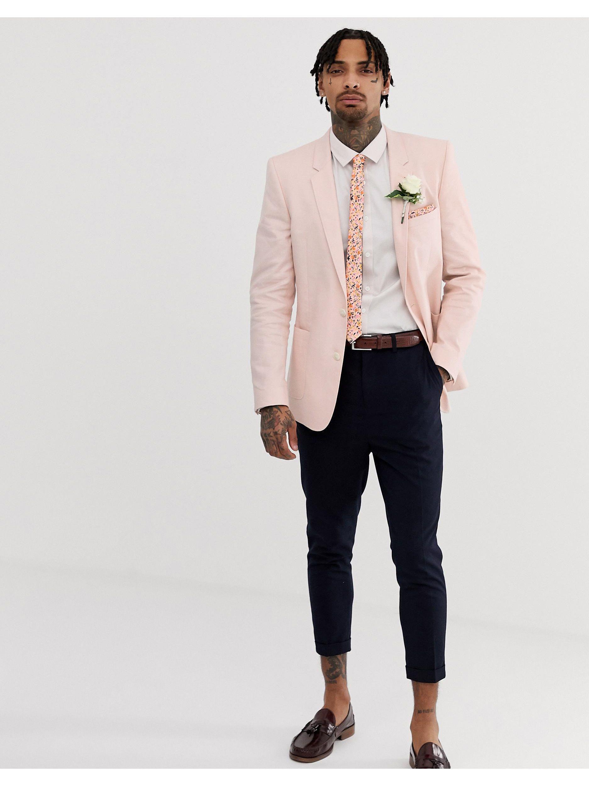 ASOS Katoen Bruiloft - Slim-fit Satinet Overhemd in het Wit voor heren