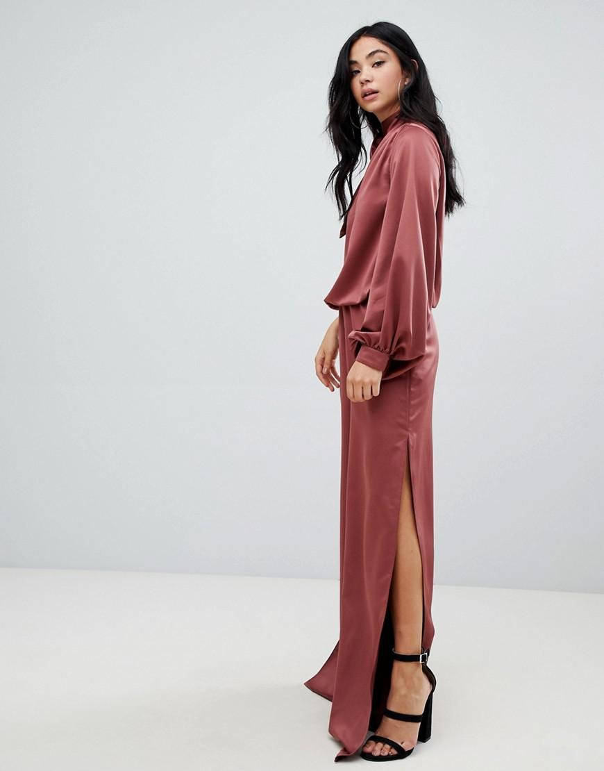 c6fcd97d54b ASOS One Shoulder Satin Jumpsuit With Blouson Sleeve in Black - Lyst