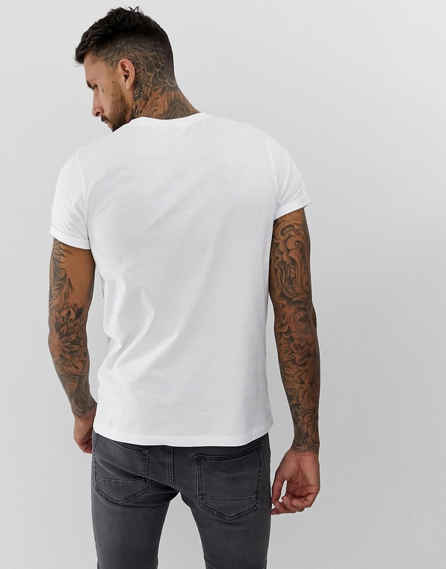 839037de059a Lyst - ASOS T-shirt With Historical Figure And Roll Sleeve in White for Men