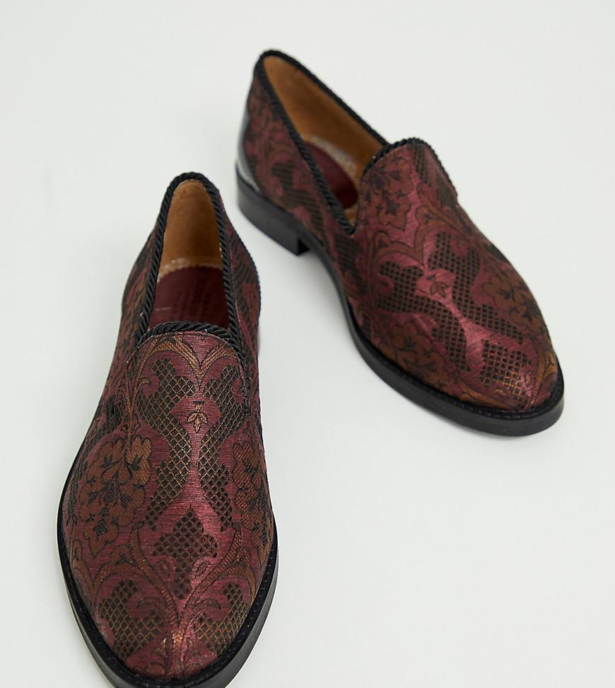 a35eaa1e209 Lyst - House Of Hounds Wide Fit Styx Loafers In Plum Broacade in ...