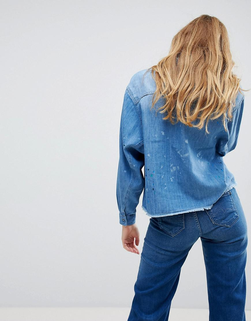 7f5682008fc Lyst - Pepe Jeans Painted Denim Shirt in Blue