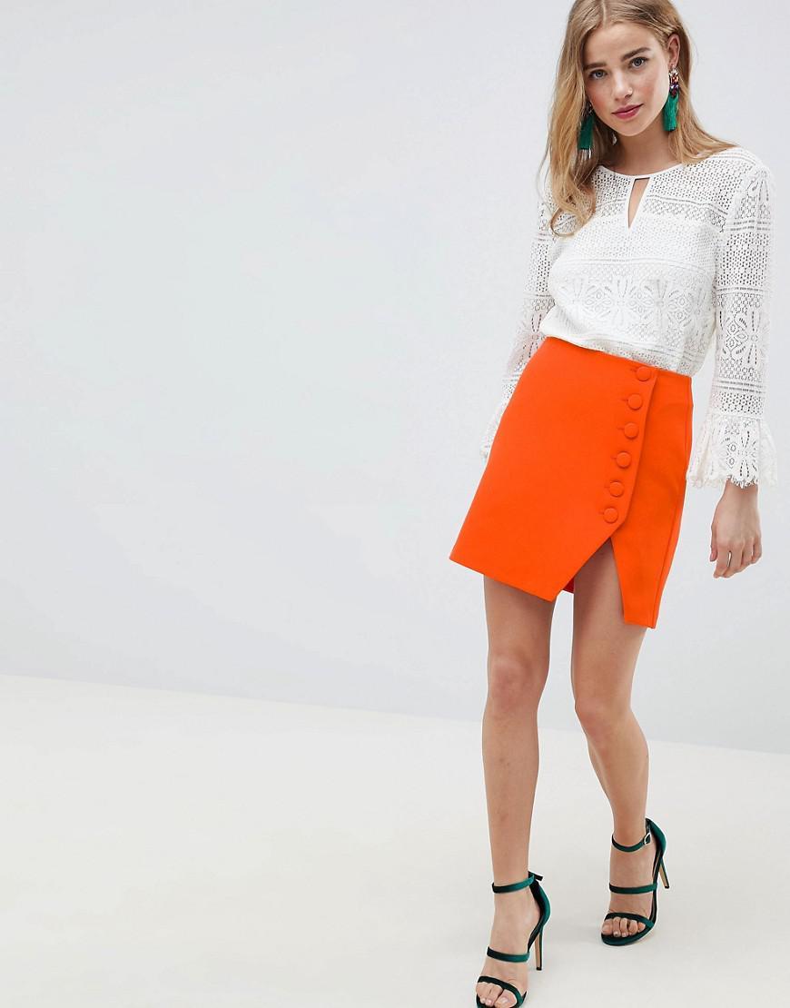 Mini Jupe Boutonnee Sur Le Cote Et Fendue Devant Jean Asos En Coloris Orange Lyst