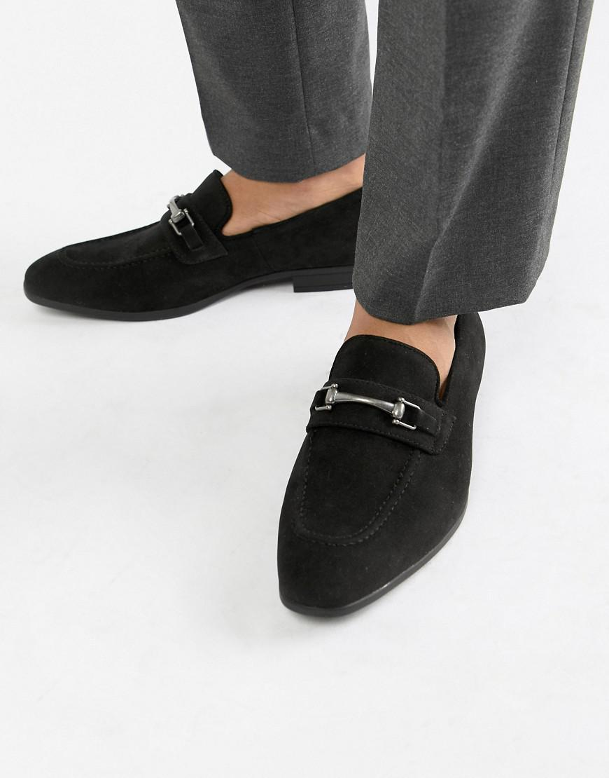 897da1bc390 ASOS Wide Fit Loafers In Black Faux Suede With Snaffle Detail in Black for  Men - Lyst