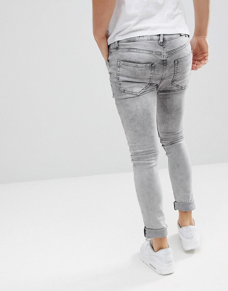 Religion Denim Biker Jeans With Rip Repair Knee Detail in Grey (Grey) for Men