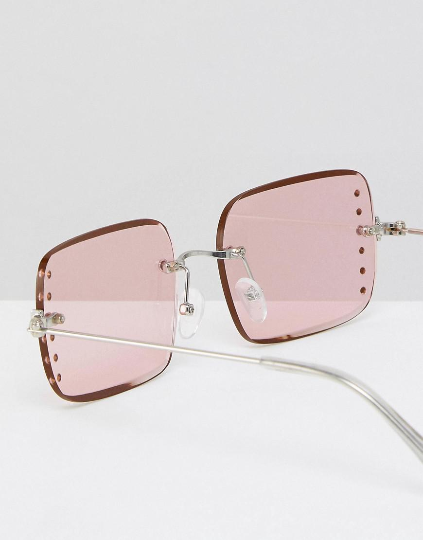 eda7e04b6d Lyst - ASOS Asos 90s Rimless Square Fashion Sunglasses With Diamonte ...