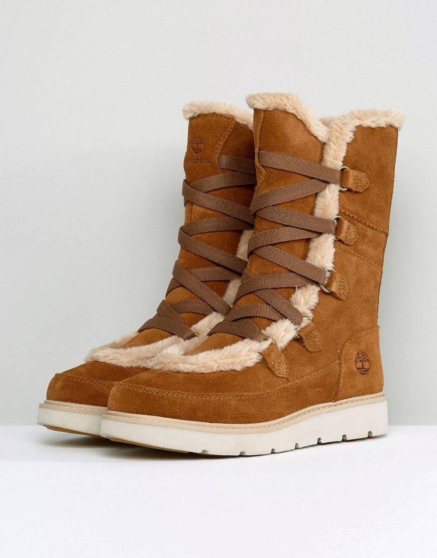 Timberland Kenniston Muk Tall Tan Faux Fur Boots in Brown Lyst