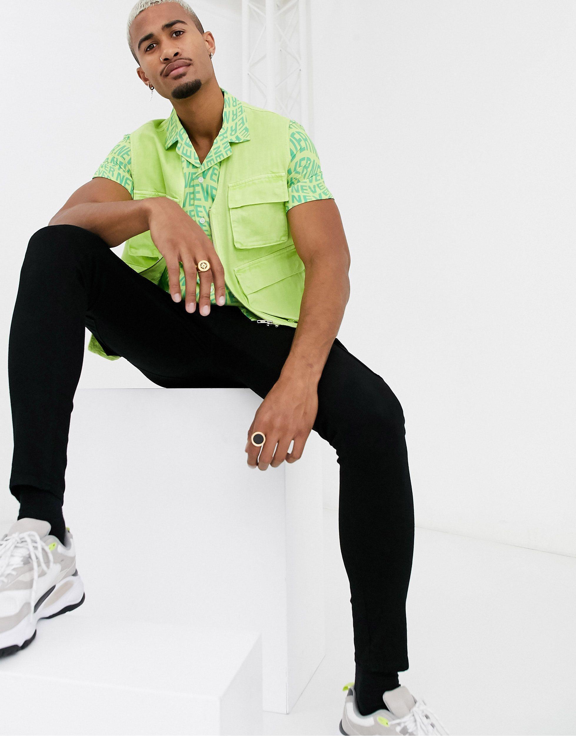 ASOS Synthetisch Never Text - Regular-fit Overhemd Met Print in het Groen voor heren