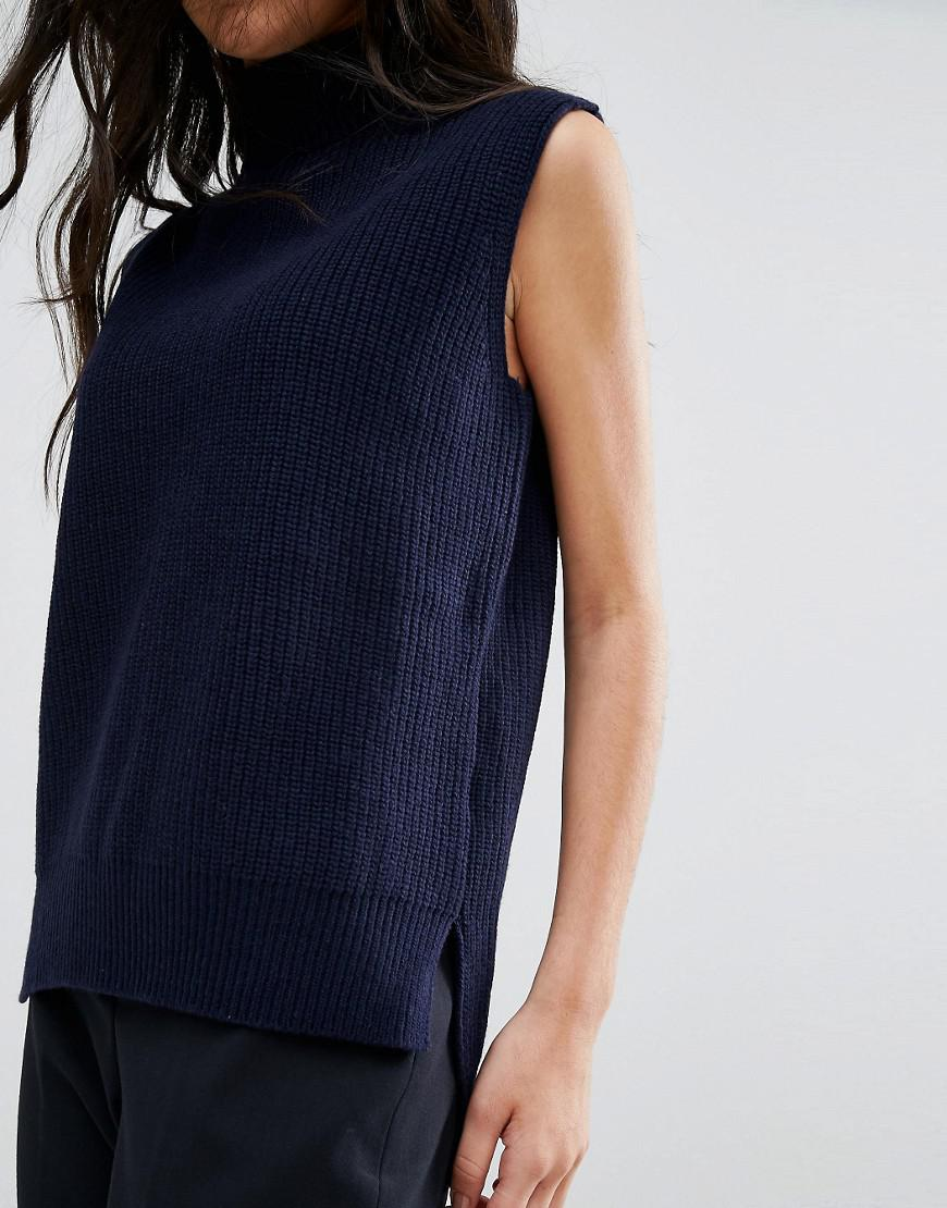 fde988adaa YMC Merino Wool Roll Neck Knit Tank Top in Blue - Lyst