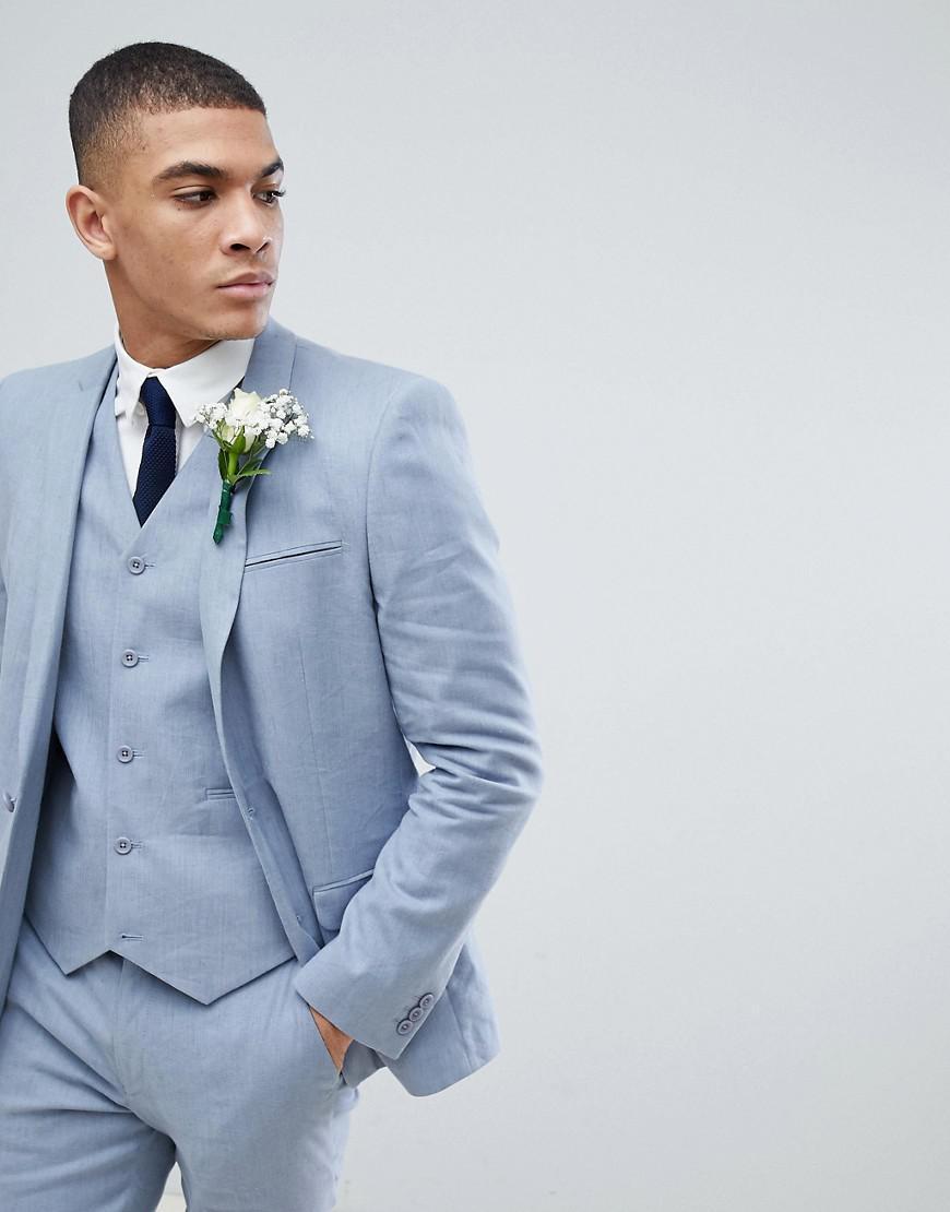 03fbd429a27ae Lyst - ASOS Asos Wedding Skinny Suit Jacket In Blue Linen in Blue ...
