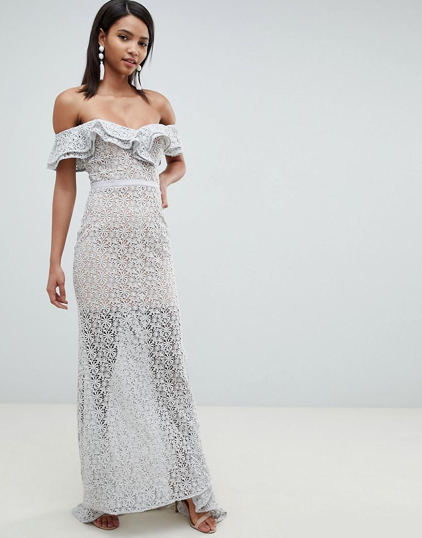 79fd4537a Jarlo All Over Lace Frill Bardot Fishtail Maxi Dress In Grey in Gray ...