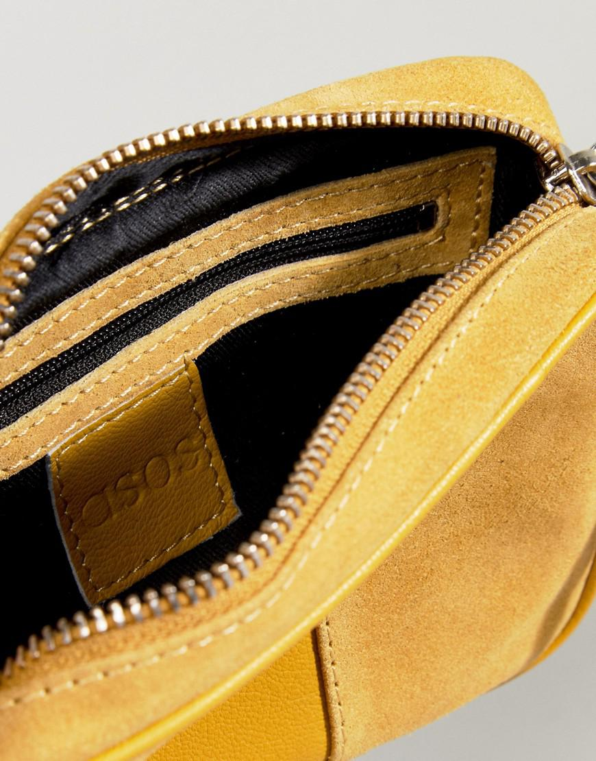 baaa74c4230c5 Lyst - ASOS Leather And Suede Paneled Cross Body Bag in Yellow