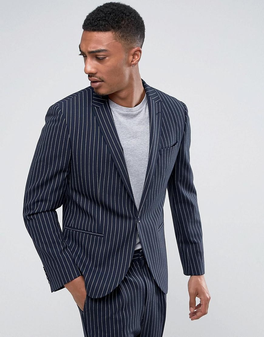 Asos Skinny Suit Jacket In Navy Pinstripe in Blue for Men | Lyst