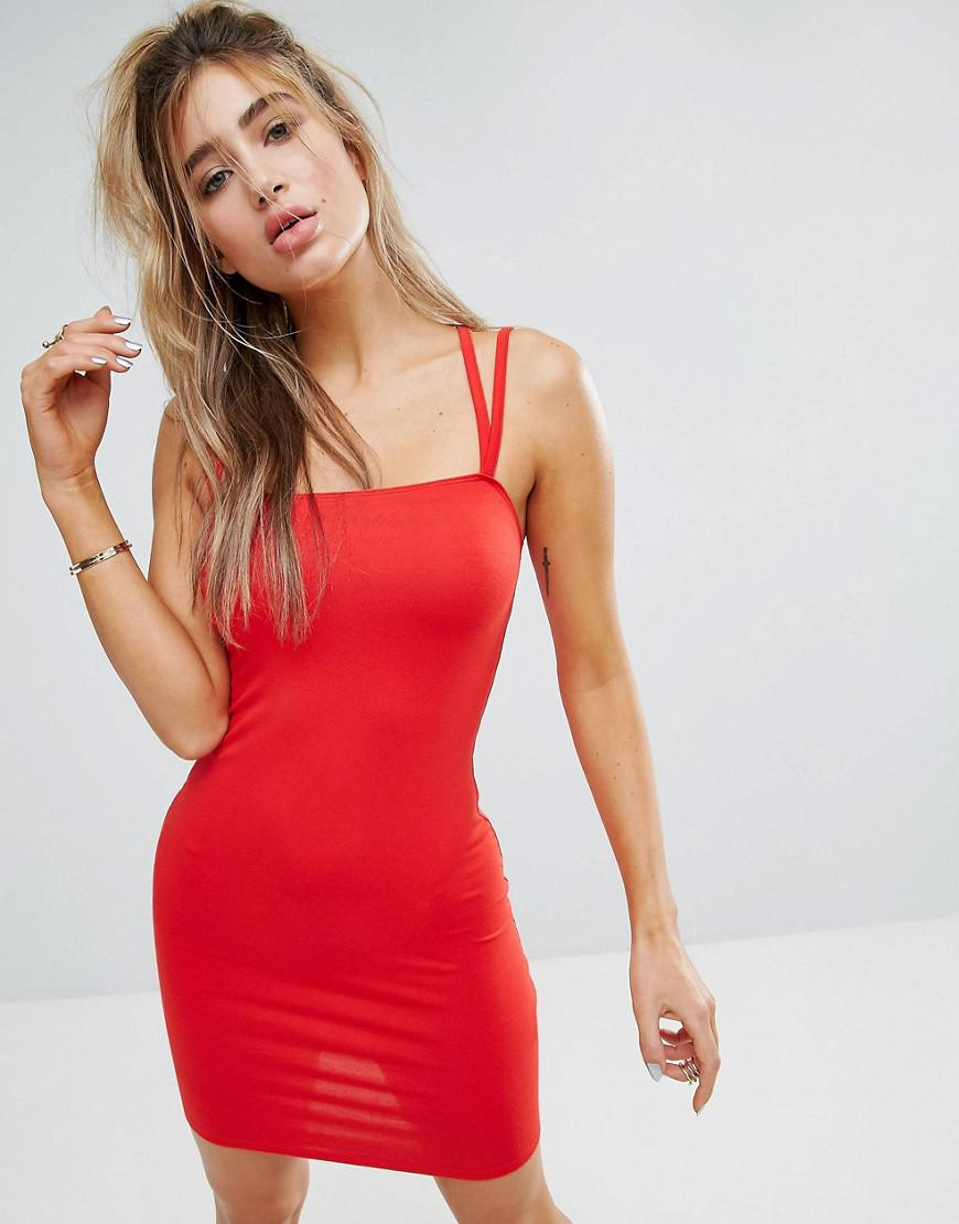 5211cec0686e0 ASOS Mini Double Strap Bodycon Dress in Red - Lyst