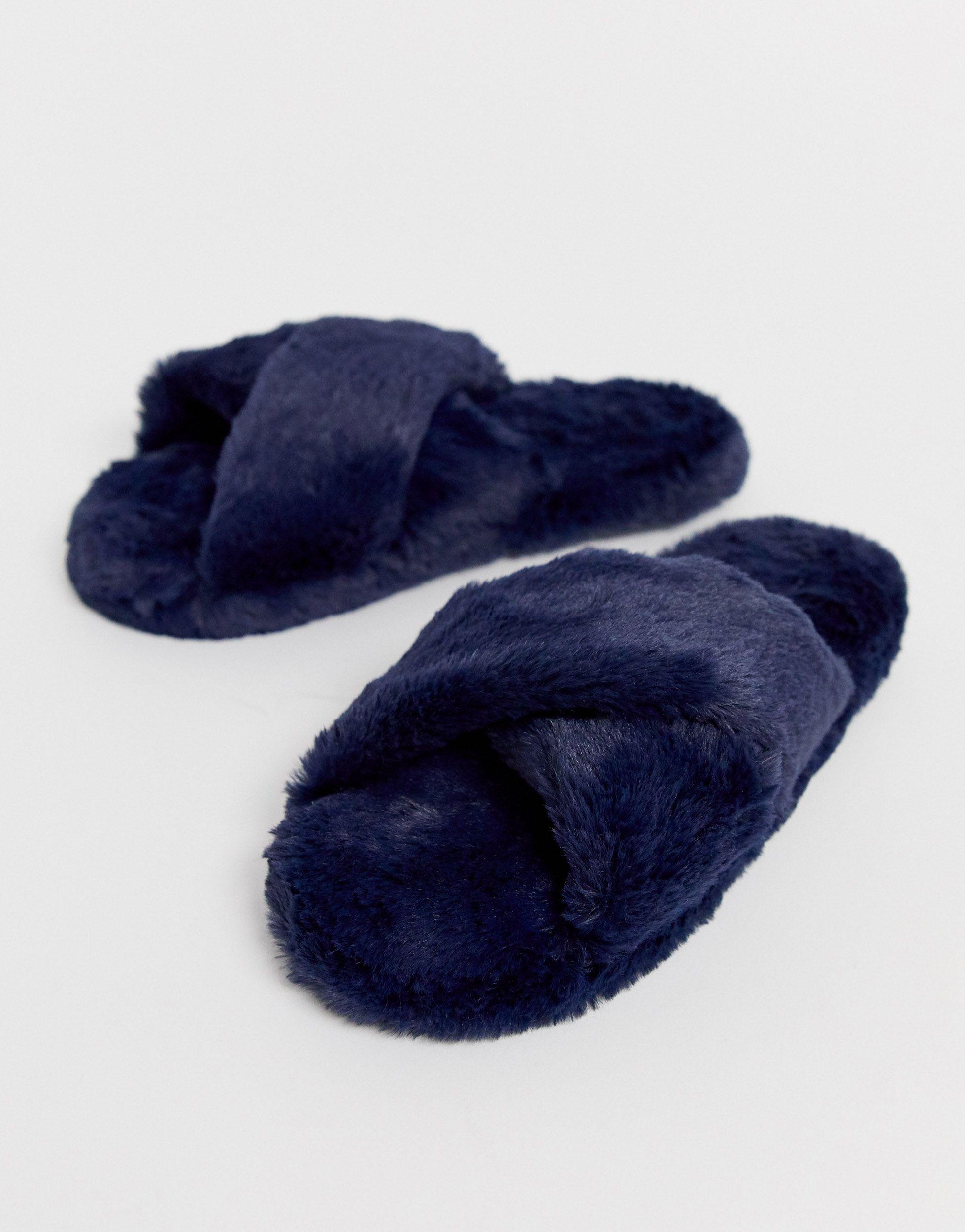 Pantuflas con tiras cruzadas Neve ASOS de color Azul