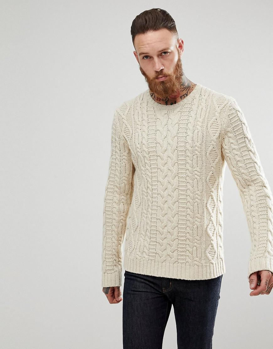 3006bb472c39f4 ASOS Asos Chunky Cable Knit Jumper In Oatmeal in Natural for Men - Lyst