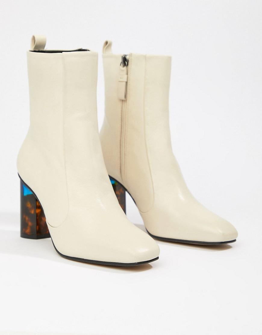 ab03605517a07 Kurt Geiger Kurt Geiger Cream Leather Heeled Ankle Boots With ...
