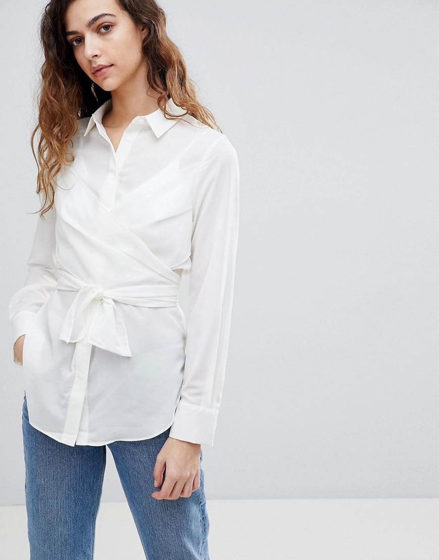 5d7069d8feccdc Warehouse Tie Front Shirt in White - Lyst