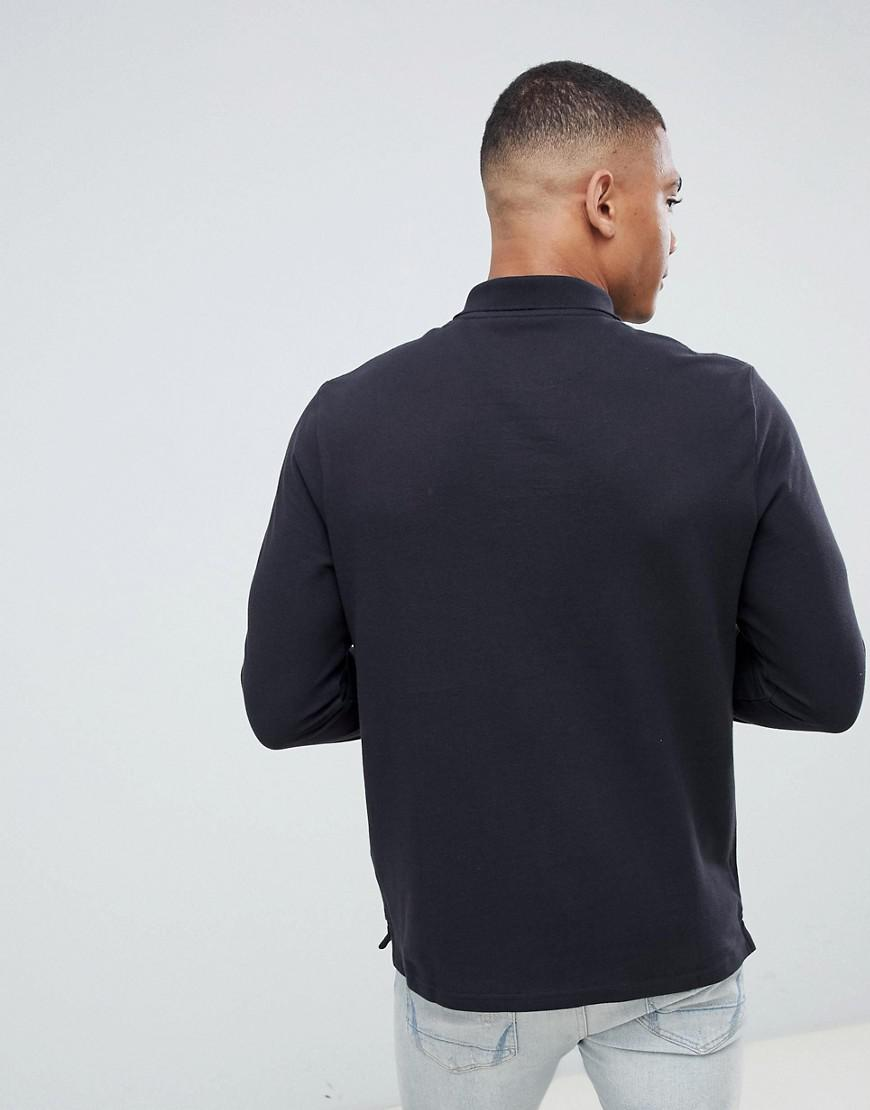 fd272f6e964 Lyle   Scott Long Sleeve Polo Shirt In Black in Black for Men - Lyst