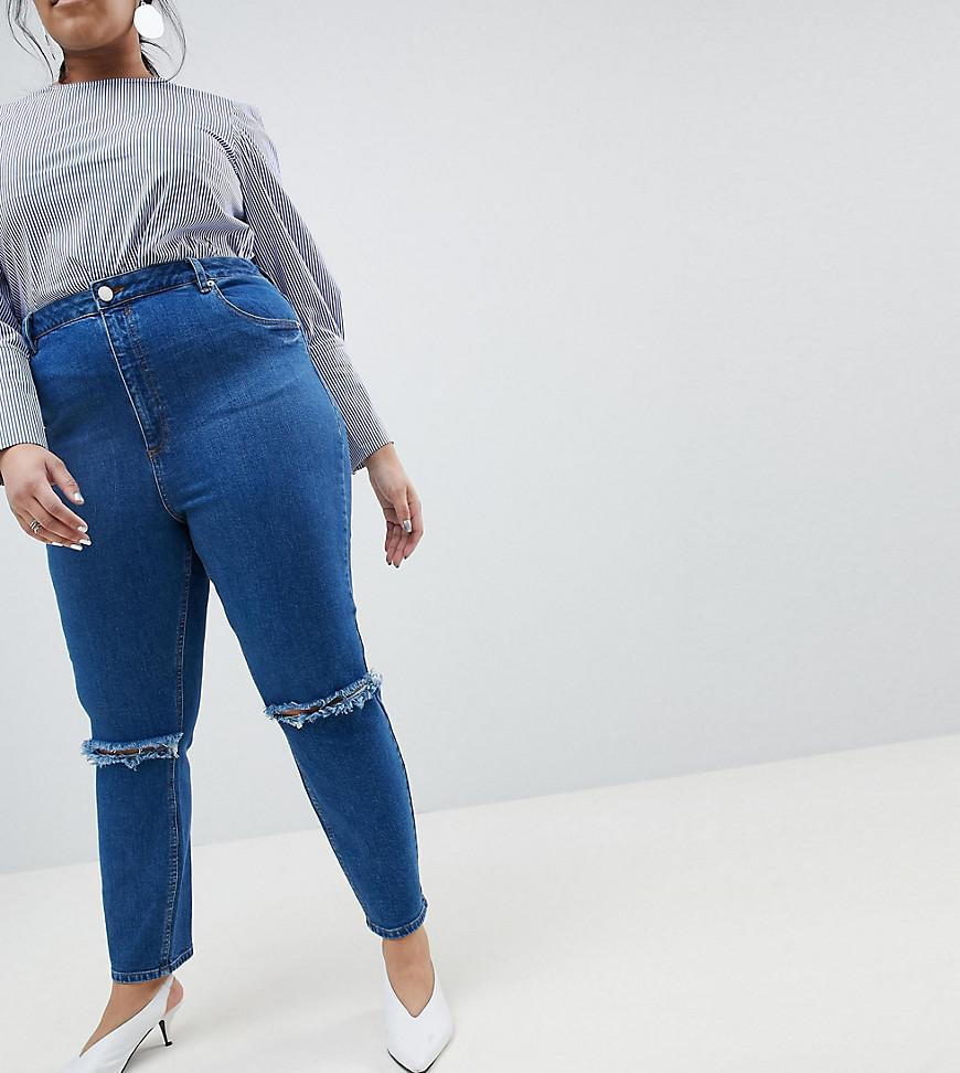 d996903ceeafe ASOS. Women s Blue Asos Design Curve Farleigh High Waist Slim Mom Jeans In  Bonnie Wash With Super Wide Busted Knee