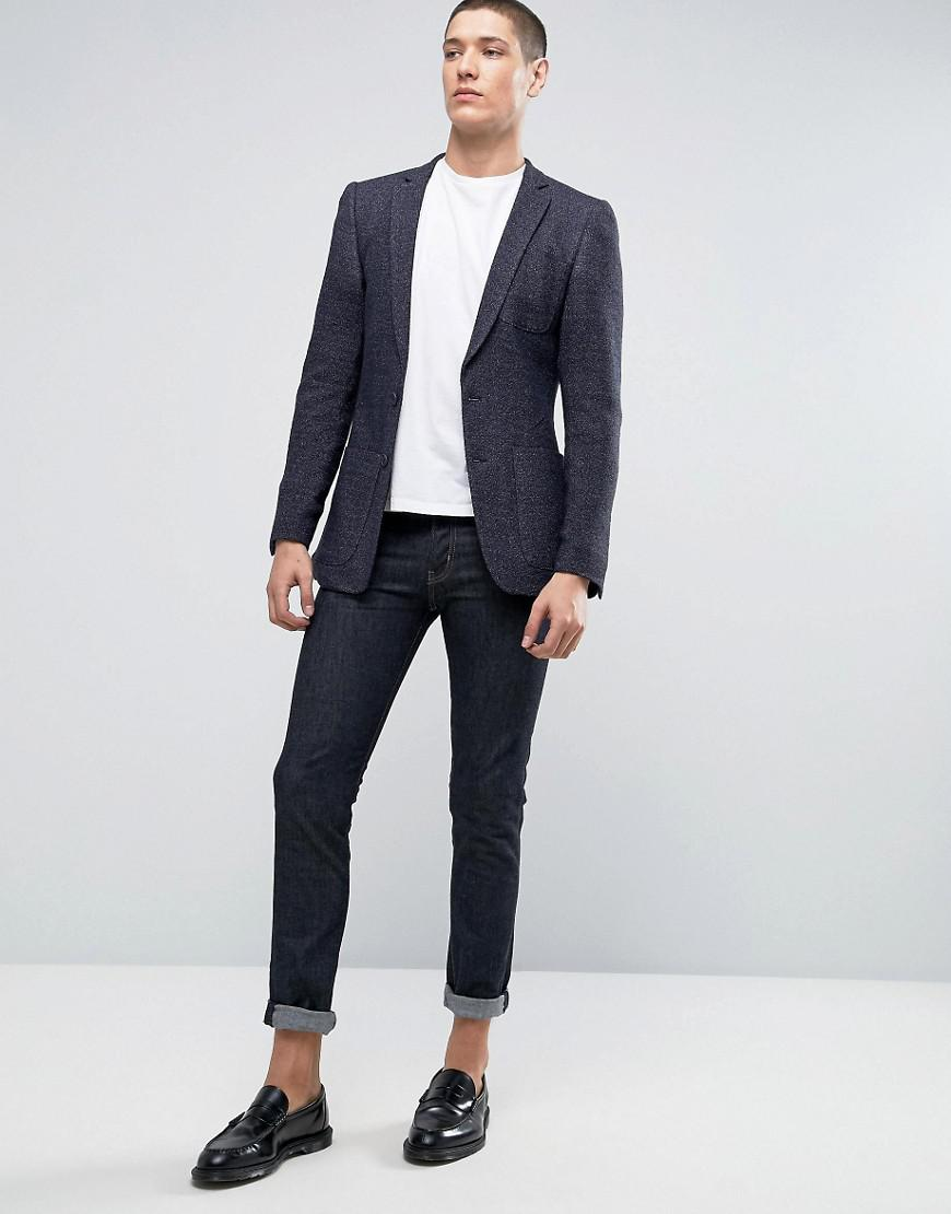 ASOS Synthetic Super Skinny Suit Jacket In Navy Neppy Jersey in Blue for Men