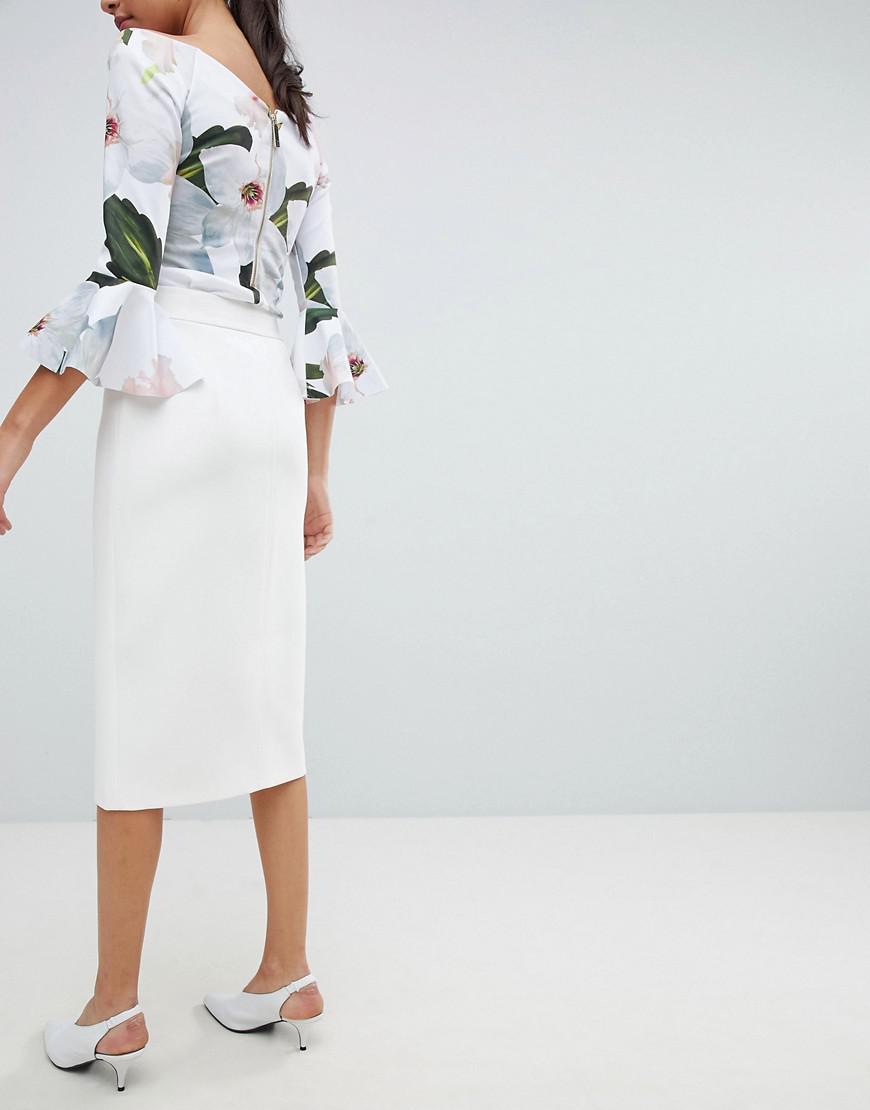 0a2695d04 Ted Baker Rosci Crepe Zip Midi Skirt in White - Lyst