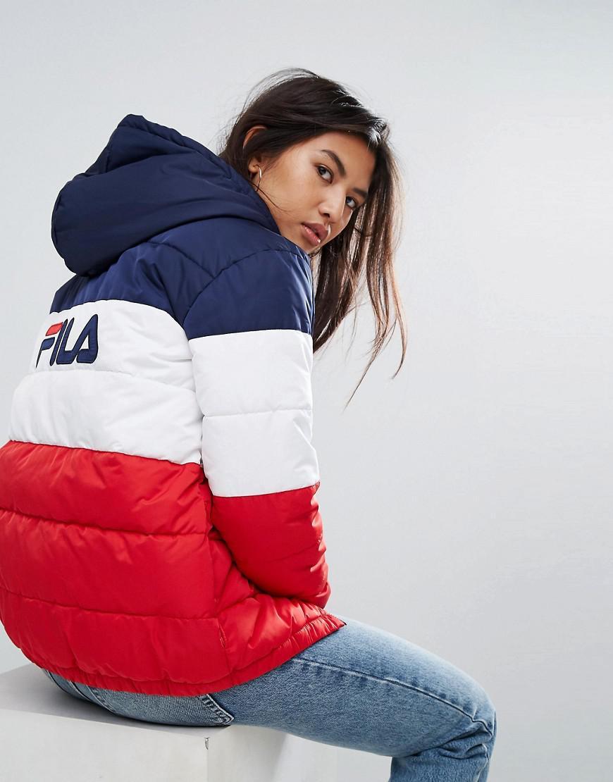 223fd012cefa Fila Longline Padded Jacket With Hood And Back Logo In Colourblock ...