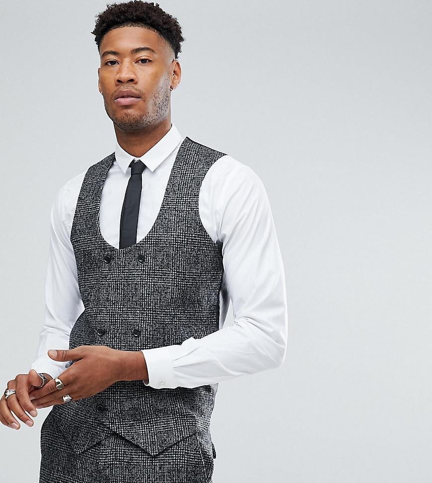 TALL Slim Waistcoat In Moons Wool Rich Monochrome Check - Black Asos Clearance Excellent Best Cheap Price Clearance 100% Guaranteed Cheap 2018 Unisex CQosv