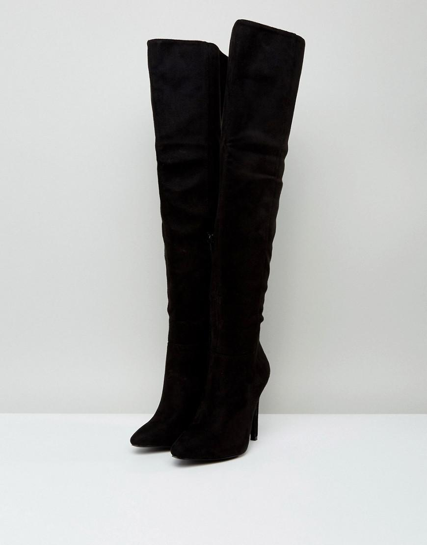 Truffle Collection Wide Fit Thigh High Stiletto Boot in Black
