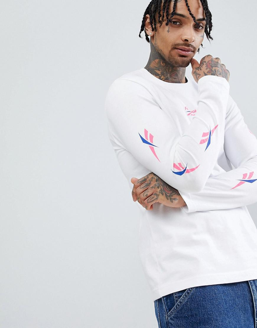 c5d47e2edc83 Reebok Long Sleeve T-shirt With Vector Arm Print In White Dn9806 in ...